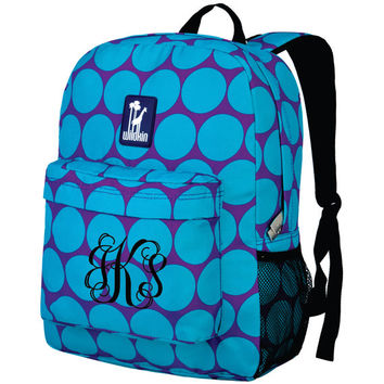 Monogram Backpack and Lunch Bag Set - Wildkin - Personalized - Big Dot Aqua - Back to School Crackerjack