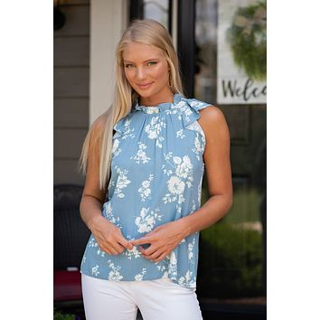 Why Deny It Ruffle Neck Top : Dusty Blue