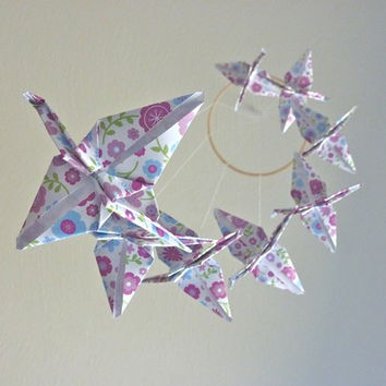 Eco Friendly Origami Crane Mobile Featuring Purple Birds Garden - Perfect for Nursery or Girly Girl Bedroom