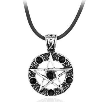 Supernatural Series Pentagram Pendant Necklace With Rope Chain Dean Winchester Star Necklaces Silver Plated Red crystal Jewelry