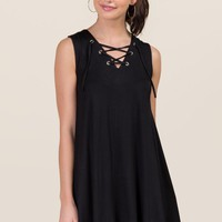 Melanie Lattice Shift Dress