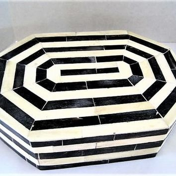 Inlaid Bone Trinket Box, Geometric Shape, Large Treasure Chest, Artisan Signed, Dyed Bone Inlaid, Wood Casket