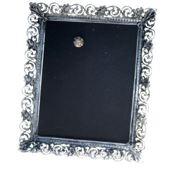 Magnet Board with Magnet, handmade from a Pewter colored ornate French Chic Frame, choose either chalkboard or fabric