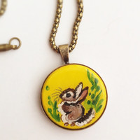 Bunny Necklace, Rabbit Pendant, Hand Painted Jewelry, Miniature Art, Small Round, Woodland Animal, Handmade, Yellow, Green, Cute