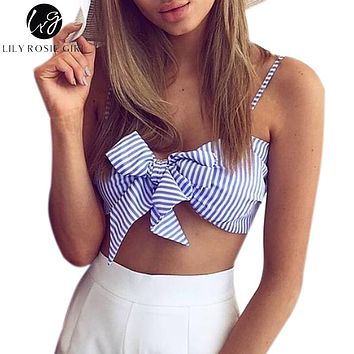 Blue Striped Bow Sleeveless Strap Crop Top