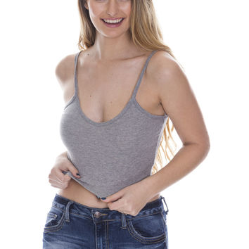 Ribbed Crop Top - Grey Ed