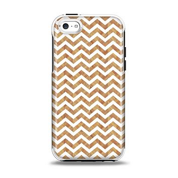The Wood & White Chevron Pattern Apple iPhone 5c Otterbox Symmetry Case Skin Set