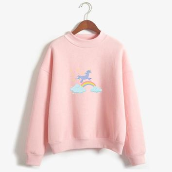Drop shipping Rainbow Unicorn Hoodie Sweatshirts Printed Animal Horse Harajuku Style Autumn Winter Kawaii Unicornio Pullover
