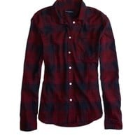 AEO Factory Women's Plaid Button Shirt (Burgundy)