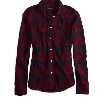 AEO Factory Women's Plaid Button Shirt from American Eagle