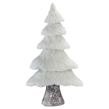 "17.25"" Small Rustic Birch Wood Tree with Faux Snow Canopy Christmas Decoration"