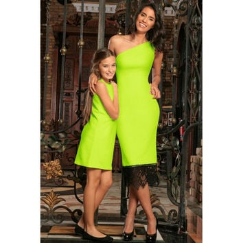Neon Yellow Stretchy Bright Summer Stylish Mommy and Me Dresses