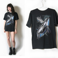 90s Killer Whale and Dolphin T Shirt // Size Large // Animal T Shirt // Sea Life // Grunge Shirt