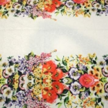 DG Dolce and Gabbana fabric sky blue or white with colorful flowers by one yard