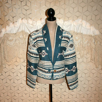 90s Native American Tribal Jacket Cropped Western Tapestry Woven Casual Cotton Blue Southwestern Medium Large Womens Vintage Clothing