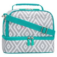 Gear-Up Preppy Diamond Dual Compartment Lunch Bag, Grey