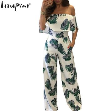 Jumpsuits Romper Full Length Straight Fashion Off Shoulder Women Jumpsuit for Summer Rompers