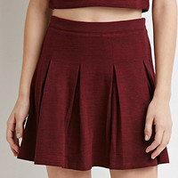 Marled Knit Pleated Skirt