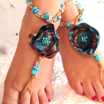 Barefoot sandals. beaded sandals, flower boho barefoot sandles, crochet barefoot sandals, , yoga, anklet  hippie shoes