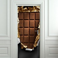 Door Wall STICKER Chocolate bar brick decole poster 30x79""