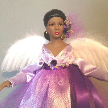 African American Angel Doll - Lilac and Purple Porcelain Angel -  FREE Personalization