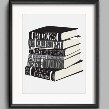 "Printable C.W. Elliot Books Poster - ""Books Are the Quietest and Most Constant of Friends..."""