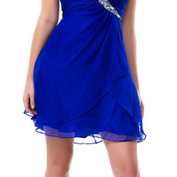 Royal Blue Touch of Class Strapless Chiffon Homecoming Dress - Unique Vintage - Cocktail, Pinup, Holiday & Prom Dresses.