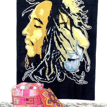 Bob Marley Tapestry Hippie Hippy Wall Hanging Tapestry Indian Tapestry Bedspread Bedcover Ethnic Decorative Art Indian Wall Hanging