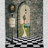 Alice in Wonderland Tapestry Decorations by Ambesonne Welcome Wonderland Blac...