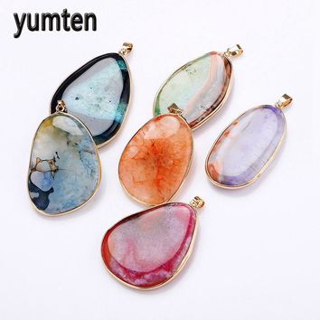 Yumten Natural Gemstone Pendant Necklace Stone Power Crystal Statement Pendentif Jewelry Ribbon Women Long Necklace Colgantes