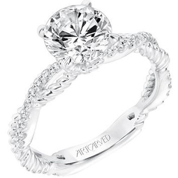 "Artcarved ""Rhea"" Twist Rope Texture Diamond Engagement Ring"