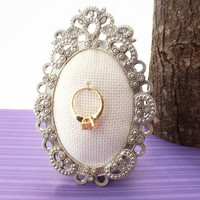 Ring Frame Holder; Oval, Ornate, Bling Picture Frame; Engagement Ring Safety, Wedding Ring Display, Photo Prop; Christmas Stocking Stuffer