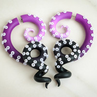 Tentacle Gauges, Fake Gauge Earrings, Ursula Ear Gauges, Tentacle Earrings, Octopus Gauges, Fake Plugs, Ursula Faux Gauges, Ombre Ear Plugs