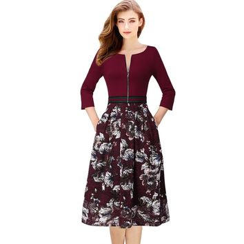 Vintage Floral Lace Zipper Pocket Contrast Wear To Work Office Casual Party Flare A Line Midi Dress