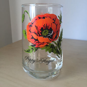 Vintage Flower of the Month Series Drinking Glass, August Poppy Red Orange Floral Glass Cup, Birthday Gift