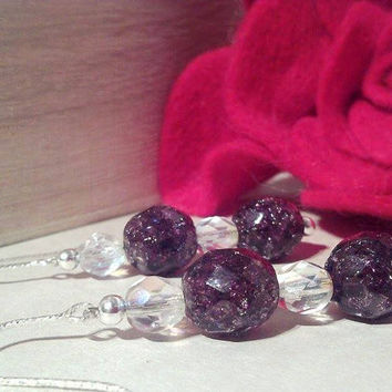 Sterling Silver Sparkle Fire Polished Czech Glass Handmade Amethyst and Crystal Beaded Drop Earrings