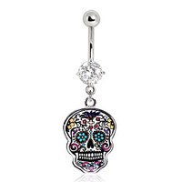 316L Surgical Steel Floral Sugar Skull Belly Button Navel Ring