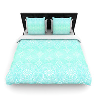 "Suzie Tremel ""Medallion Aqua Ombre"" Blue Teal Woven Duvet Cover"