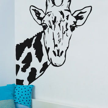 Giraffe Face Vinyl Wall Decal Sticker #6012