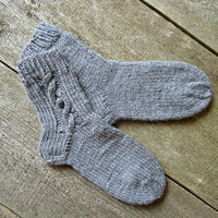 Handknit wool socks Gray knit socks Hand Knit Socks Winter womens socks Warm knit socks Woolen knitted socks Sister gift Made to order