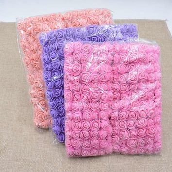 144pcs 12bunch Foam Lace Rose Handmake Artificial Flower Bouquet Wedding Decoration DIY Wreath Gift Box Scrapbooking Craft Fake