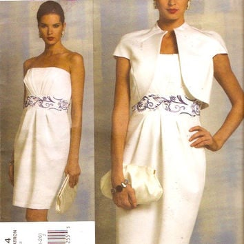 Badgley Mischka dress and jacket Mother of the Bride or Brides engagement Wedding party sewing pattern Vogue 1154 Designer Sz 14 to 20 UNCUT