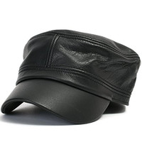 ililily Vintage Genuine Leather Military Cadet Cap Army Camo style Hats (cadet-504-2-XL)