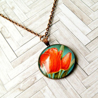 tulips upcycled vintage stamp pendant, copper, floral, flower, recycled, eco friendly