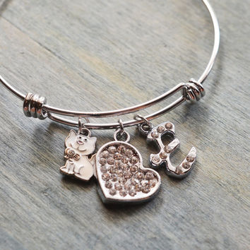 cat bracelet, white cat bangle, wedding, animal lover, heart jewelry, christmas gift, grandma, cat, kitten, kitty, personalized bracelet