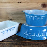 Pyrex Snowflake Blue Garland Atomic Snowflake Loaf Pan and  a pair of Casserole Dishes