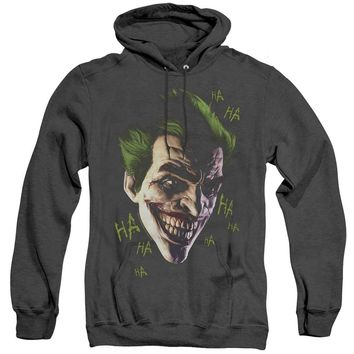 Batman Arkham Origins Heather Hoodie Joker Grin Ha Ha Black Hoody