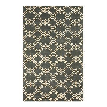 EORC Hand-tufted Wool Green Traditional Trellis Moroccan Rug