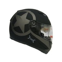 TMS Star Matte Black Dual Visor Full Face Motorcycle Helmet w/ Smoke Sun Shield (Large)