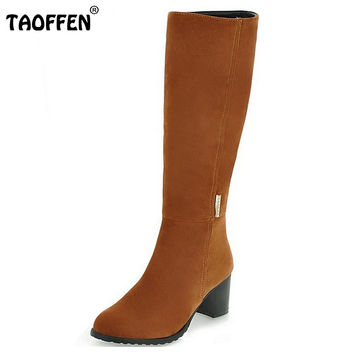 Fashion Women's Shoes Over The Knee Long Boots Vintage Heels Round Toe Less Platform Shoes Winter Boots Woman Size 34-43